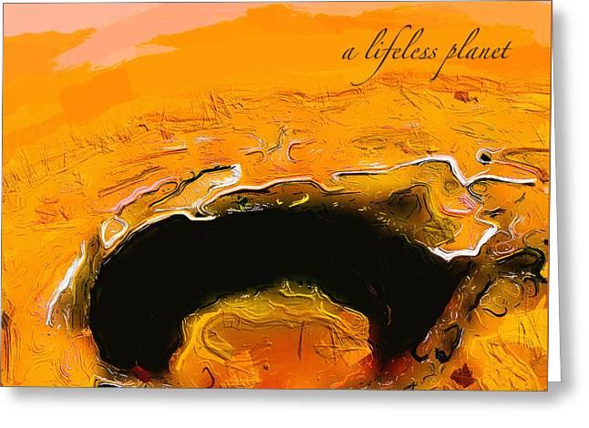 A Lifeless Planet Orange Greeting Card