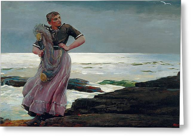 A Light On The Sea Greeting Card by Winslow Homer