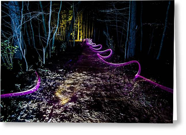 A Light Painted Trail At Night  Greeting Card by Sven Brogren