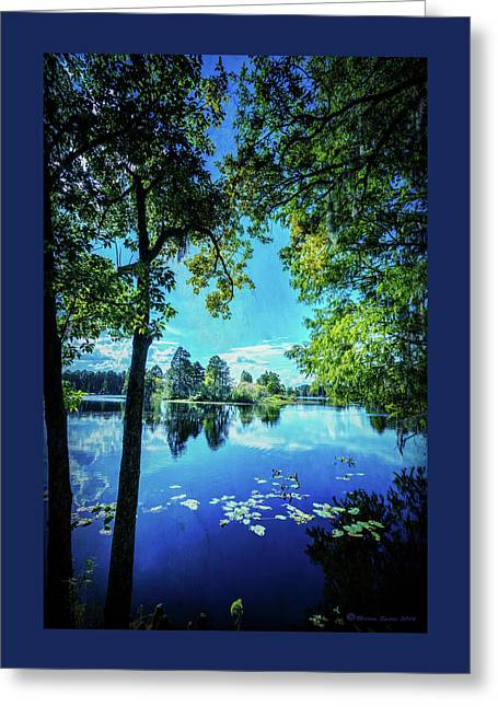 A Line Of Blue Greeting Card by Marvin Spates