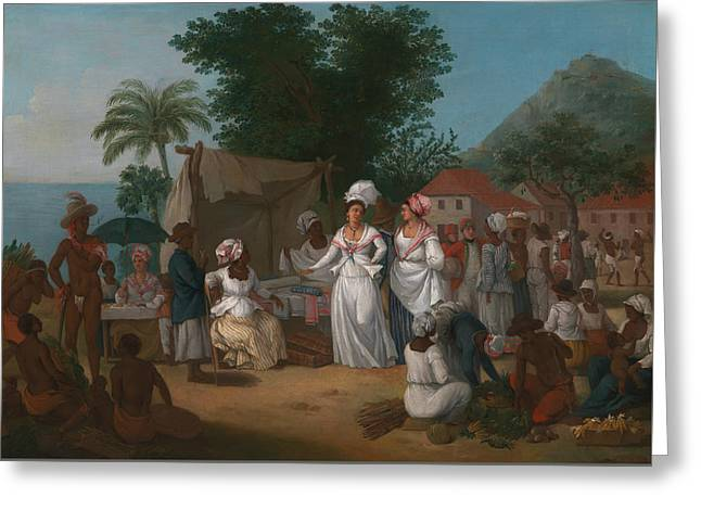 A Linen Market With A Linen-stall And Vegetable Seller In The West Indies Greeting Card by Agostino Brunias