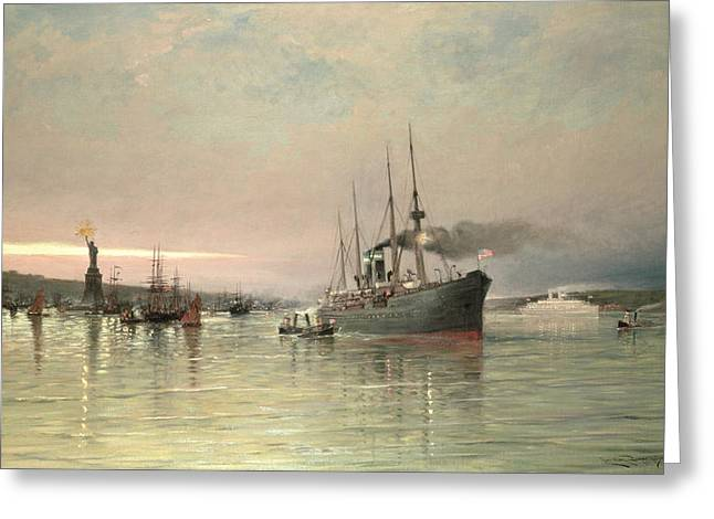 A Liner And Other Shipping Before The Statue Of Liberty Greeting Card