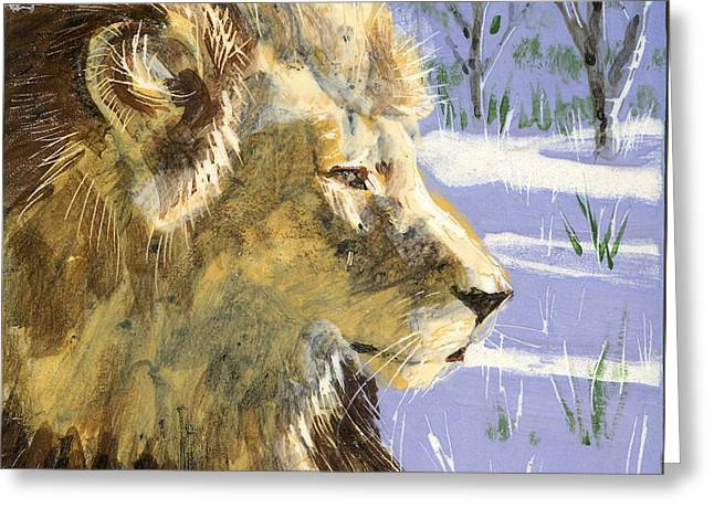 Best Sellers -  - Ceramic Ceramics Greeting Cards - A Lion in Winter Greeting Card by Dy Witt