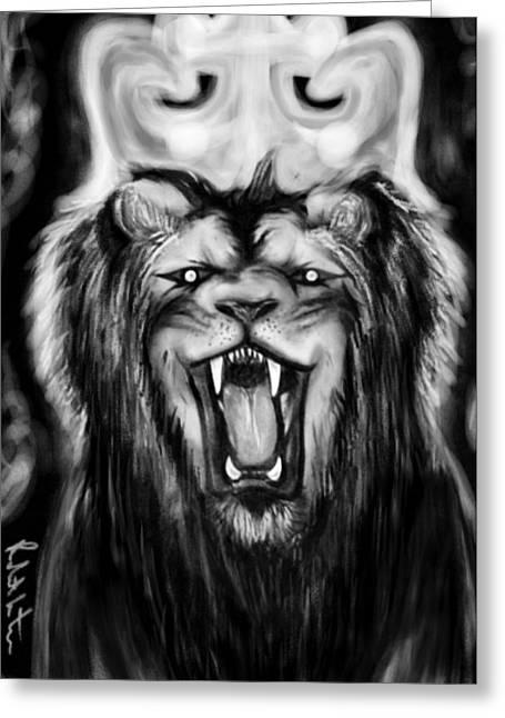 A Lion's Royalty B/w Greeting Card