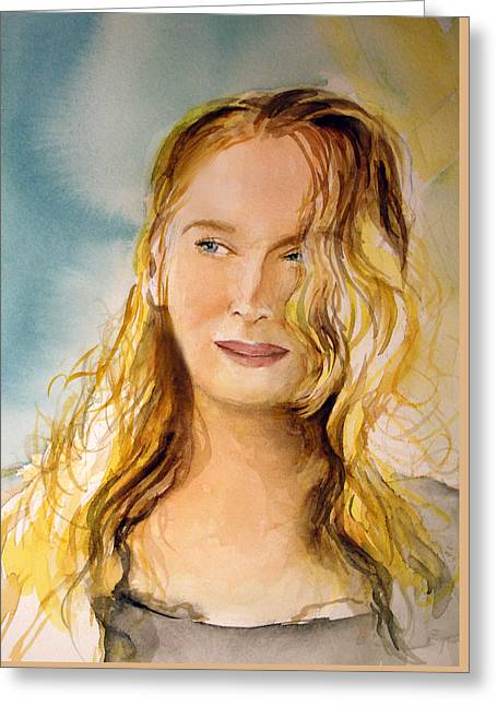 Greeting Card featuring the painting A Little Bit Of Meryl by Allison Ashton