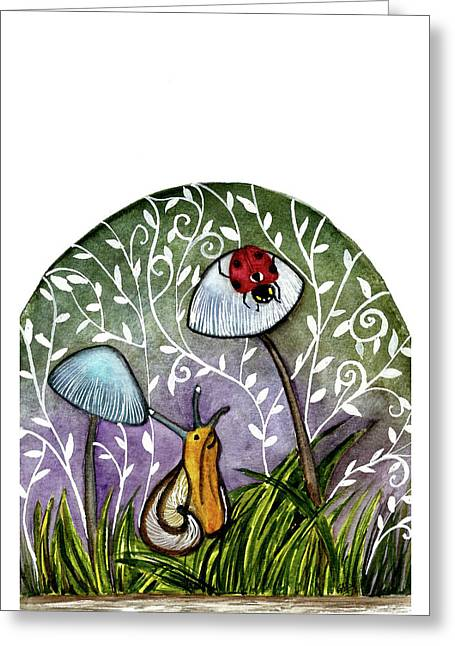 A Little Chat-ladybug And Snail Greeting Card by Garima Srivastava