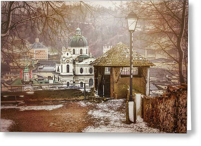 A Little Snow In Salzburg  Greeting Card by Carol Japp