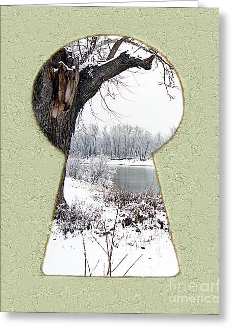 A Little Snow Keyhole Greeting Card