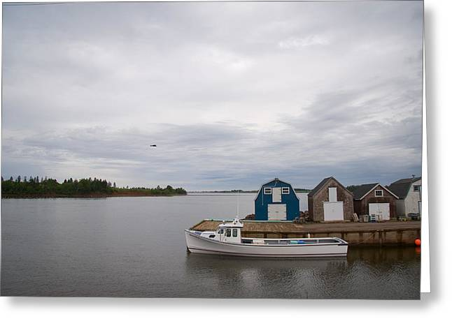 A Lobster Fishing Boat Sits Waiting Greeting Card by Taylor S. Kennedy