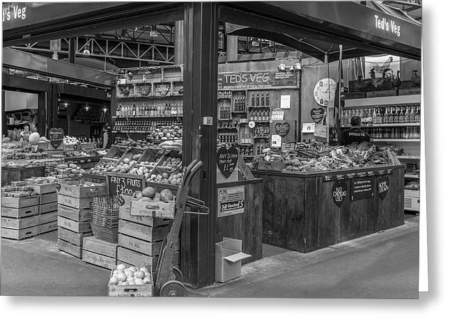 A London Market In Mono Greeting Card