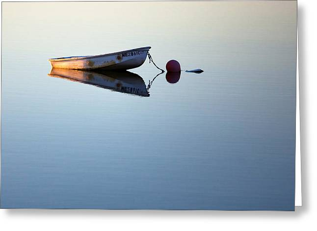 A Lone Boat On Calm Waters Greeting Card