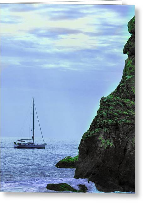 A Lone Sailboat Floats On A Calm Sea Greeting Card