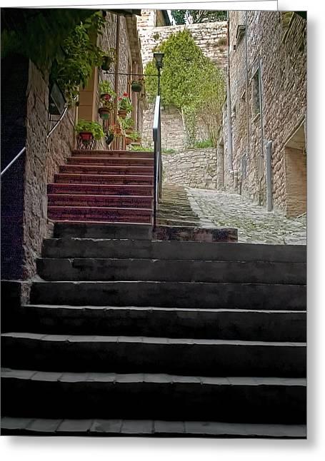 A Long Climb Up Tuscan Steps Greeting Card