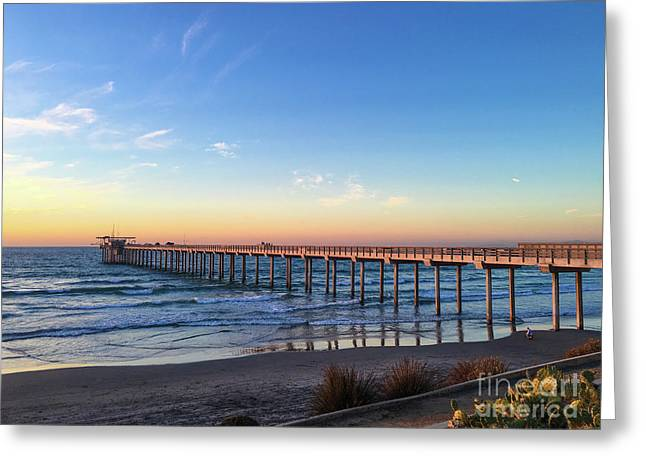 A Long Look At Scripps Pier At Sunset Greeting Card