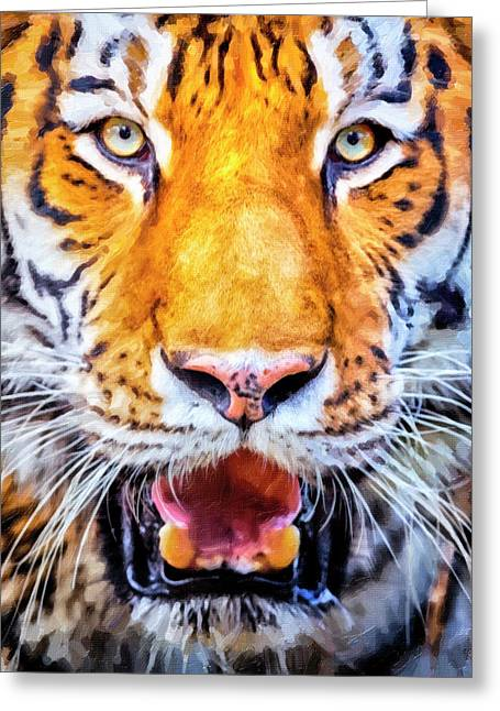 A Look Into The Tiger's Eyes Greeting Card by David Millenheft