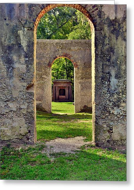A Look Through Chapel Of Ease St. Helena Island Beaufort Sc Greeting Card