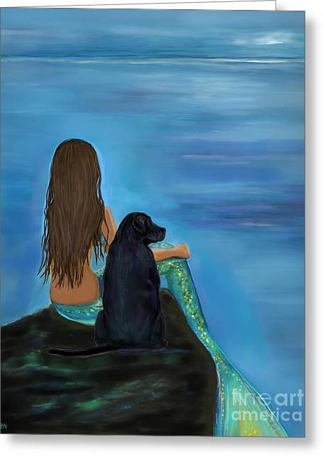 Greeting Card featuring the painting A Loyal Buddy by Leslie Allen