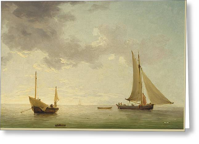 A Lugger And A Smack In Light Airs Greeting Card by Charles Brooking