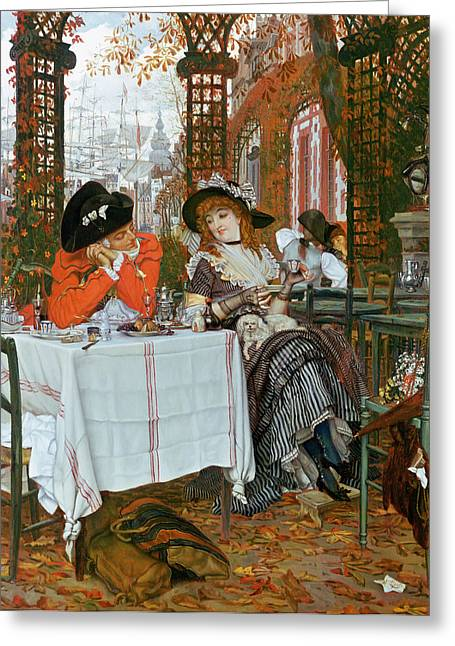 Trellis Paintings Greeting Cards - A Luncheon Greeting Card by Tissot