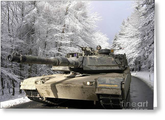 A M-1a Abrams Tank Drives Greeting Card