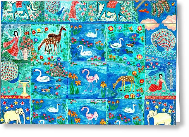 Blue Green Water Ceramics Greeting Cards - A magic country Greeting Card by Sushila Burgess