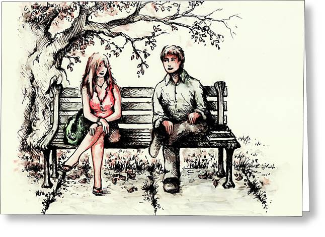 First Love Drawings Greeting Cards - A Magical Moment Greeting Card by Rachel Christine Nowicki