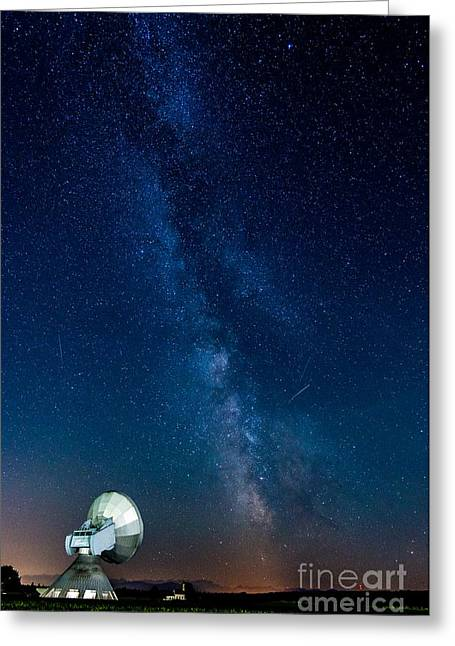 A Magical Night At The Earth Station Greeting Card by Hannes Cmarits