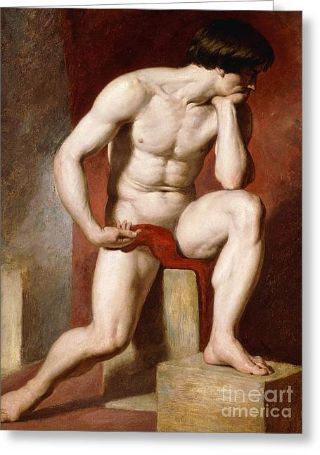A Male Nude, Seated Full Length Greeting Card