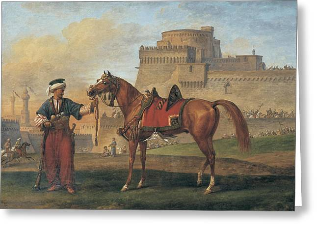 A Mameluk Leading His Horse With A Citadel In The Background Greeting Card