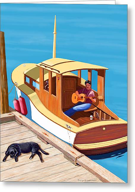 A Man, A Dog And An Old Boat Greeting Card