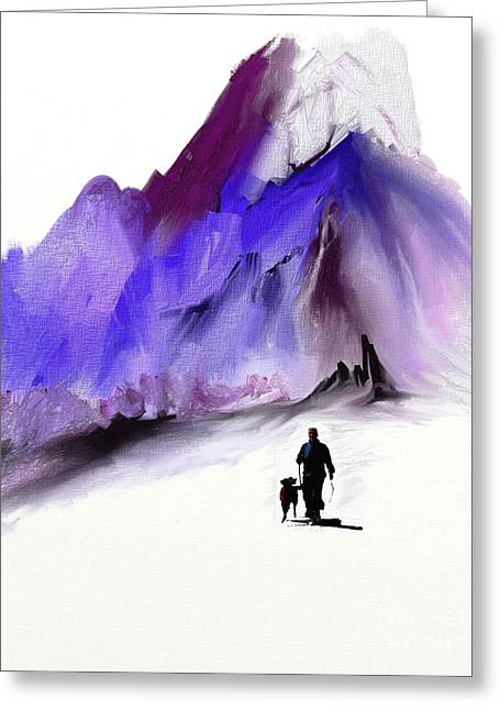 A Man And His Dog Greeting Card by Jo Baby