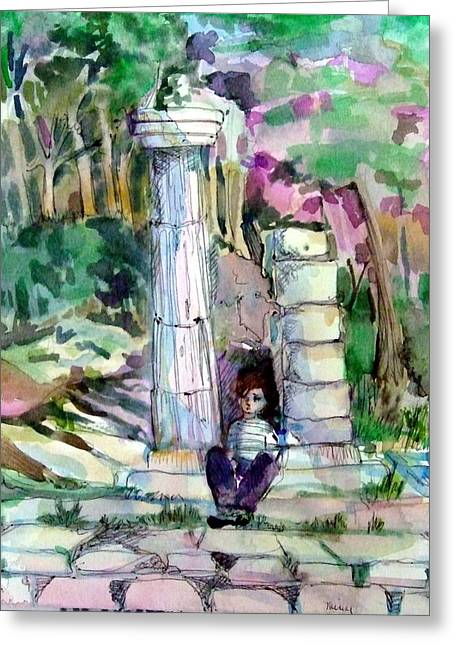 A Man In Ruins Greeting Card by Mindy Newman