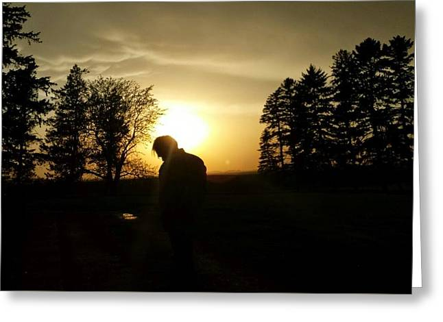 A Man In The Sunset Greeting Card by Nejandrea Corea