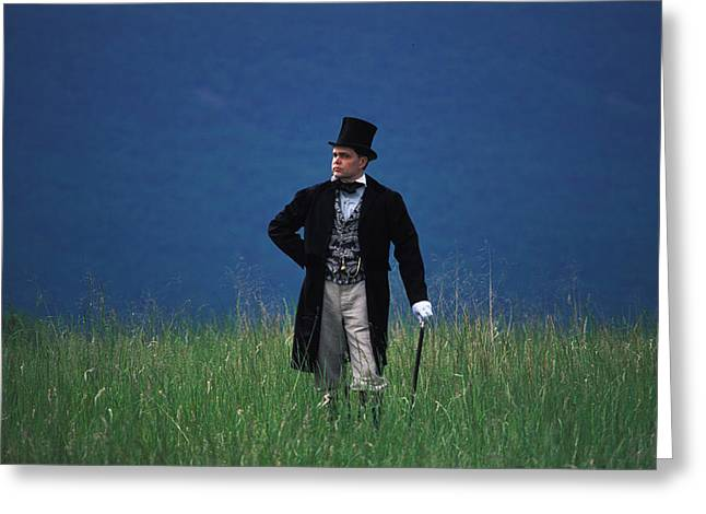A Man Outstanding In His Field Greeting Card