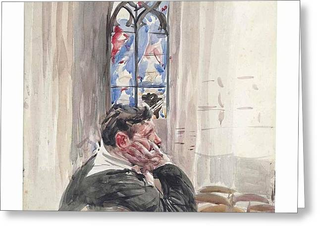 A Man Seated In A Church Greeting Card by Giovanni Boldini