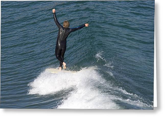 A Man Surfs A Longboard At Refugio Greeting Card by Rich Reid