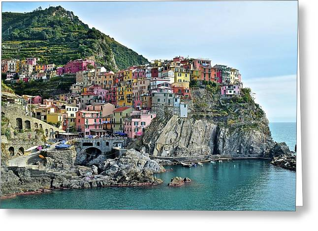 Greeting Card featuring the photograph A Manarola Morning by Frozen in Time Fine Art Photography