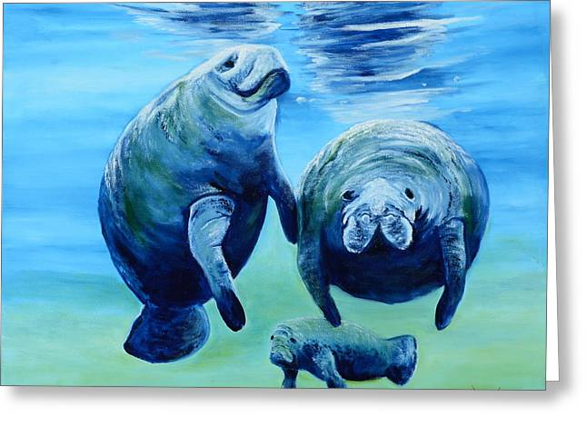 A Manatee Family Greeting Card