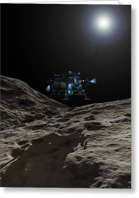 Hovering Greeting Cards - A Manned Asteroid Lander Approaches Greeting Card by Walter Myers