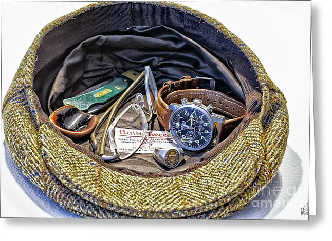 Greeting Card featuring the photograph A Man's Items by Walt Foegelle