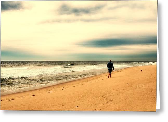 A Man's Serenity - Jersey Shore Greeting Card by Angie Tirado