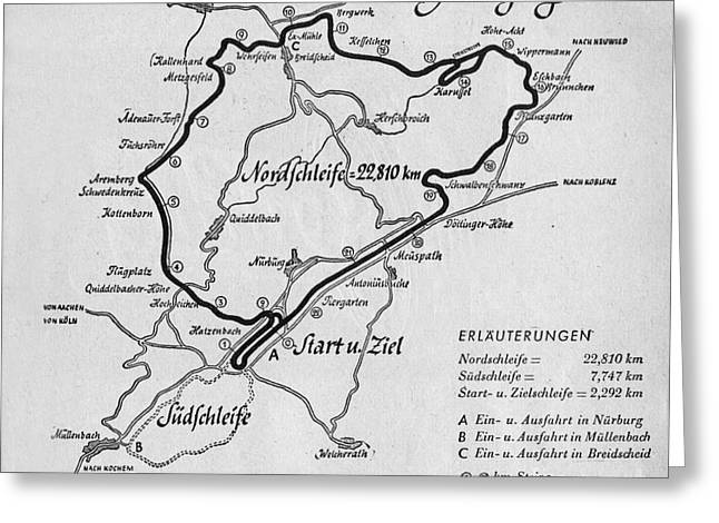 A Map Of The Nurburgring Circuit Greeting Card