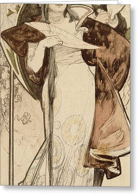 A Maquette For A Programme Greeting Card by Alphonse Marie Mucha