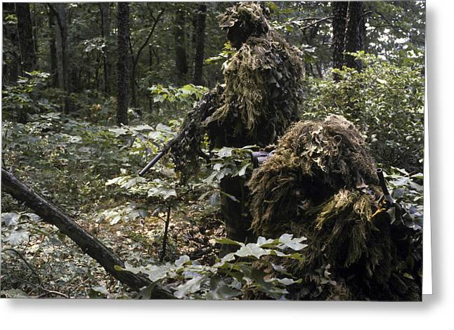 A Marine Sniper Team Wearing Camouflage Greeting Card by Stocktrek Images