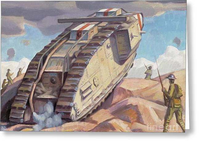 A Mark V Tank Going Into Action, Wwi Greeting Card
