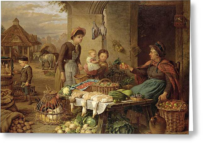 A Market Stall Greeting Card by Henry Charles Bryant