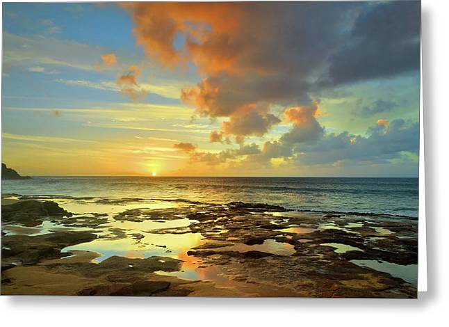 Greeting Card featuring the photograph A Marmalade Sky In Molokai by Tara Turner