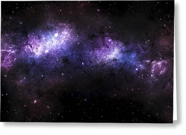 Interstellar Space Digital Art Greeting Cards - A Massive Nebula Covers A Huge Region Greeting Card by Justin Kelly
