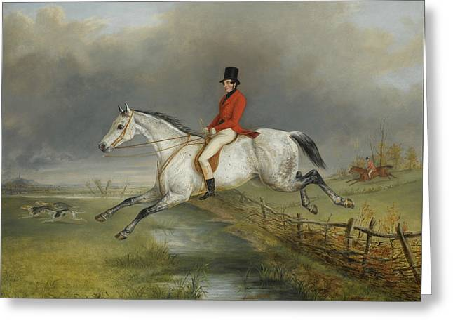 A Master Of The Royal Buckhounds Clearing A Fence On A Grey Hunter Greeting Card by George Henry Laporte