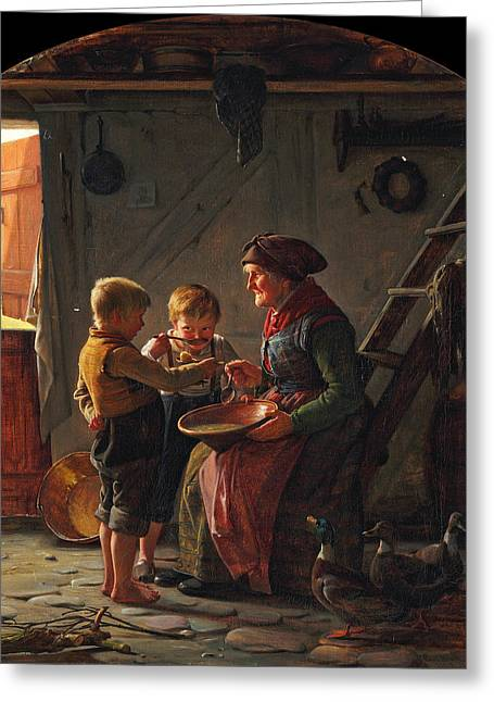 A Meal. Two Boys And A Grandmother Tasting The Potato Soup Greeting Card